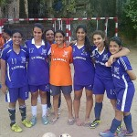 Std 12 Senior Team Core ~ l to r ~ Niharika Naik,Maitreyi Bhatia,(Ms Ansari of PE Dept),Goalkeeper Captain Kunashni Parikh,Goal Equaliser Roshni Dadachanji,Mallika Razdan and Anam Alwani