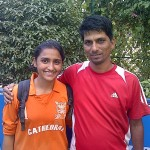 DSO u 19  Zonal Champions 2013 Cathedral Girls Football Captain  & Coach ,Kunashni Parikh and  Deepak Narwade
