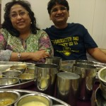 That's a contented Wife & me  waiting for our son and nephew to yet finish the Thali Meal at Thaker Bhojnalay !